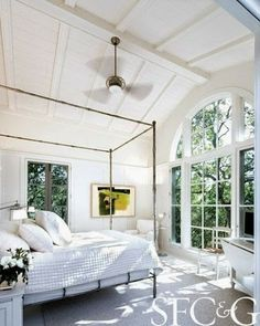 Look at those high #bedroom #ceilings and floor length #windows! #decor #home