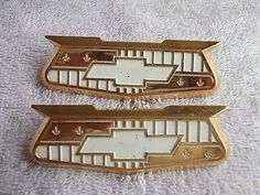 1955-56 #chevy nos bel air gold #crest #emblems, pair,  View more on the LINK…