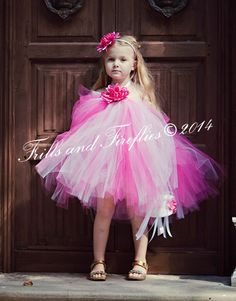 Flower Girl Tutu Halter Dress in Pink and White, sizes Baby to Sz 8, Weddings, Formal Occasions, Birthdays, Photo Shoots... 44 Color Choices