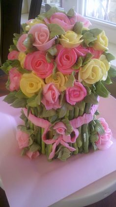 Rose Bouquet Cake - Red Velvet & White Chocolate cake with Italian butter-cream filing and frosting... buttercream decorations..