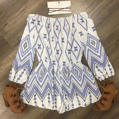 Julie Print Romper Bell Sleeves, Bell Sleeve Top, Off The Shoulder, Rompers, Blouse, Collection, Women, Fashion, Clothing