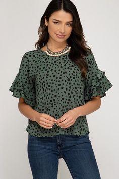 7fb51a561dc She Sky Flounce Sleeve Top - Black Dot Green. Debra's Passion Boutique