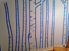 Birch trees on wall completed.