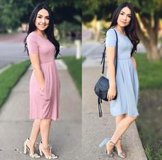 Pretty Pastel Chic Midi Dress. Modest Spring Fashion. Mods. @thedarlingstyle