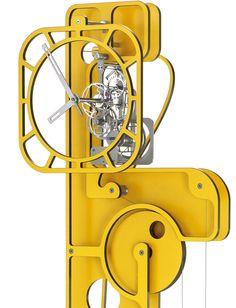 horloge comtoise contemporaine pop up jaune par utinam besan on horloges comtoises. Black Bedroom Furniture Sets. Home Design Ideas