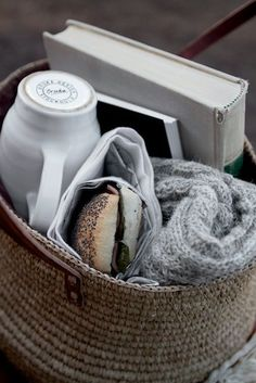 the perfect gift basket.  Cozy throw or scarf, coffee cup, notebook, book and fresh baguette