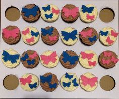 Pink and Blue Butterfly Cupcakes