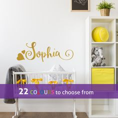 PERSONALISED with any CUSTOM girls name with swirls and hearts, gold wall sticker decal art for baby girls nursery, bedroom, playroom by LinaGifts on Etsy