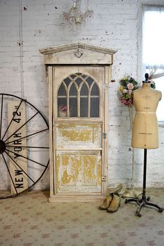 Painted Cottage Chic Shabby White Romantic French Farmhouse Wine Cabinet Cc28