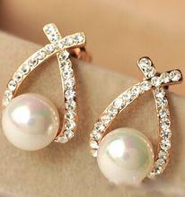 e0156 2016 Crystal Rhinestone simulated pearl Bowknot Design Girls Ear Stud Earring Earing Fashion Jewelry Women earrings(China (Mainland))
