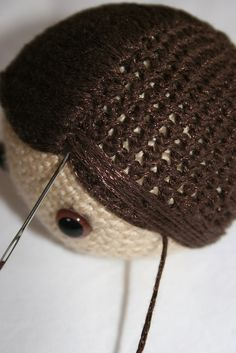 Add hair to a crocheted project- a brilliant step by step tute..