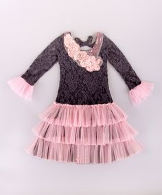 a4b178e90a6c Love this Mia Belle Baby Charcoal  amp  Pink Floral Tiered Dress - Toddler   amp