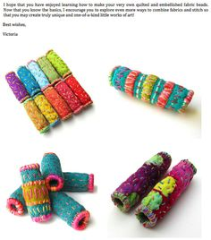 Quilted Fabric Beads PDF Tutorial Pattern by VictoriaGertenbach