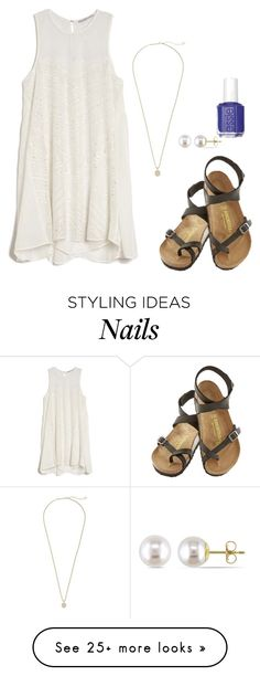 """Can't sleep love"" by cea4 on Polyvore featuring Chelsea Flower, Essie, Birkenstock, Kendra Scott and Miadora"