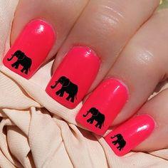 Black Elephants Nail WRAPS Nail Art Water Transfers Decals Natural False Nails