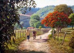 O BUCÓLICO BICHINHO Landscape Photos, Landscape Art, Landscape Paintings, Pintura Tole, Kunst Online, Caribbean Art, Farm Art, Mexican Art, Types Of Art