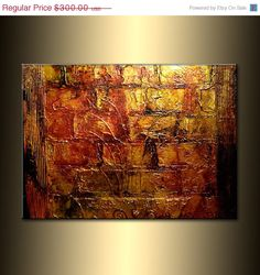 Original Abstract Painting Textured Gold by newwaveartgallery, $270.00