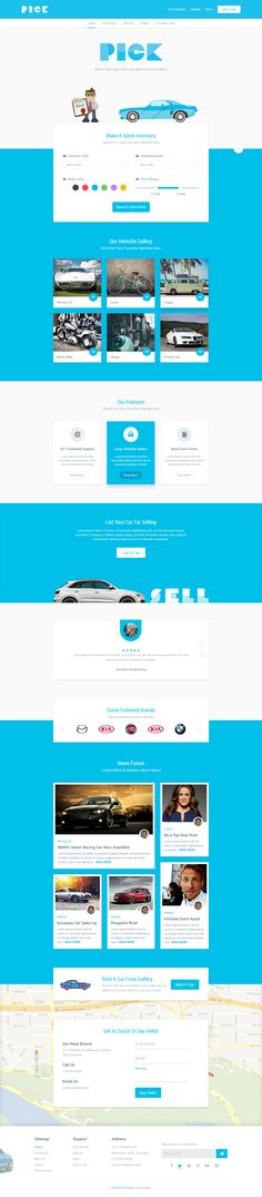 PICK Car Landing Page. Nice mix of line art and photos. #webdesign #interactivedesign #designinspiration