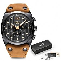 Buy LIGE Mens Watches Top Brand Luxury Men Military Sports Wristwatch Mens Chronograph Waterproof Quartz Watch Relogio Masculino+Gifts Box at Wish - Shopping Made Fun Mens Sport Watches, Mens Watches Leather, Datejust Rolex, Waterproof Sports Watch, Vintage Watches For Men, Casual Watches, Beautiful Watches, Luxury Watches, Quartz Watch