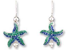 From Zarah Co. (zarah.com) Little Starfish Earrings (Item No. 71-82-01) - jewelry designed by artist Paul Brent