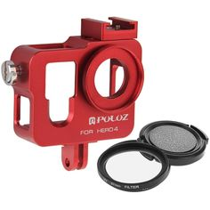 PULUZ Housing Shell CNC Aluminum Alloy Protective Cage with 37mm UV Lens Filter & Lens Cap for GoPro HERO4(Red)