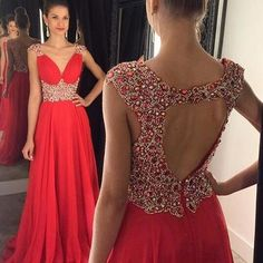 A125 spaghetti straps sweetheart long chiffon red sexy prom dress long, bridal…
