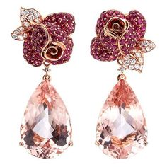 Anyallerie Rose' diamond morganite ruby 18k rose gold mismatched... ($15,240) ❤ liked on Polyvore featuring jewelry, earrings, metallic, ruby earrings, ruby flower earrings, 18 karat gold earrings, 18k earrings and ruby jewelry