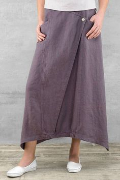 Long linen skirt purple linen summer skirts long skirts