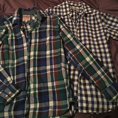 Two old navy button ups Two oversized button ups. These are men's smells which would be oversized and perfect for leggings !!! One is green/blue/brown and the other is blue/black checkered Old Navy Tops Button Down Shirts