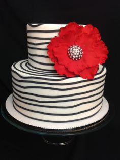 Bridal show cake  - inspiration for this design came from a fellow CCer thank you! The cake is all fondant. with a gumpaste flower.