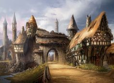 Today's artist spotlight features Matt Allsopp, a concept artist who works for the UK design studio Leading Light Conceptual Design which has provided Picturesque Fabel 2 and Killzone 2 environments and concepts. Fantasy Village, Fantasy Town, Fantasy Rpg, Medieval Fantasy, Fantasy Artwork, Fantasy World, Dark Fantasy, Art Village, Perspective Architecture
