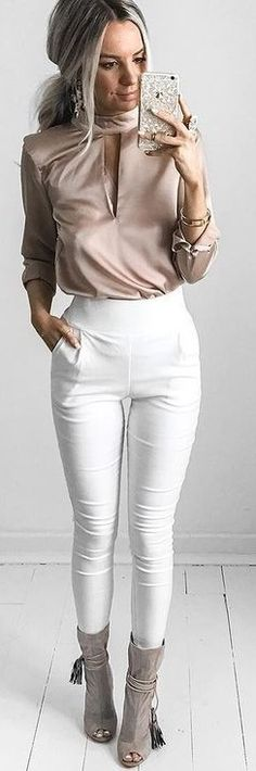 #summer #feminine #outfits | Top Nude Blush + High Revolution Pants