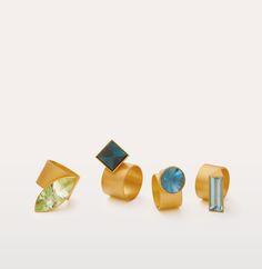 Ulla + Martin Kaufmann Gold & Tourmaline Rings.  The Scottish Gallery