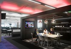 BBC- Areas designed to appear like a residential kitchen invite employees to have casual meetings in a variety of settings. #conference #cafeteria #office #design  #SanDiegoOfficeDesign #SDOfficeDesign #gorgeousOffice #OfficeDesigner #interiorDesign #TamaraRomeo #BrandedDesign #bestofficedesign #office #commercial   #lighting #flooring #sandiegoofficedesign