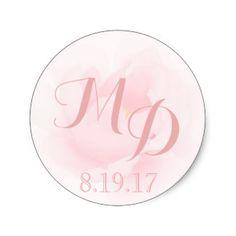 Watercolor Light Pink Peony Wedding Monogram Classic Round Sticker