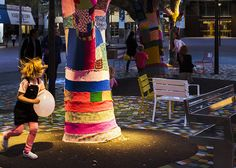 Lighting and yarn bombing makes #BackyardExperiment feel safe at night. Photo: Jackie Chan, WE-EF