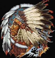 Indian Cross Stitch | Indian Chief Counted Cross Stitch Kit | eBay