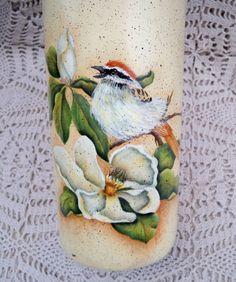 SALE Handmade Painted Wine Bottle with BIRD and Dogwood Flowers Candleholder Vase