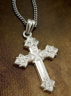 "Christian Russian Orthodox Sterling Silver Cross/Crucifix with 18"" Chain. - Crucifixes & Crosses"