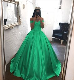Elegant Lace Off The Shoulder Ball Gowns Satin Wedding Dresses 2018 Engagement Party Dresses, Wedding Dresses 2018, Gown Wedding, Wedding Engagement, Pretty Quinceanera Dresses, Cheap Prom Dresses, Pageant Dresses, Quince Dresses, Different Dresses