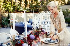 West Elm Table 1299+ Serena and Lilly ratan cafe chairs Dianna Agron's Stunning Backyard Makeover via @domainehome