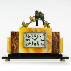 Superb 1920s French ART DECO Bronze Bird Sculpture MANTEL CLOCK by MARTI #MARTI