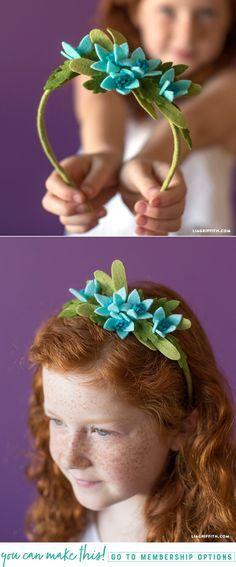 DIY Felt Flower Headband - www.LiaGriffith.com - #diywedding #weddingdiy #feltflowerheadband #feltflower #feltproject #felt #kidscraft #DIYFelt