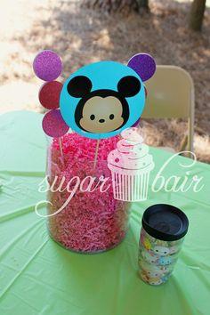 {Disney Tsum Tsum-themed fourth birthday} Table centerpieces & Tsum Tsum Tervis for the birthday girl