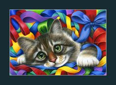 Tabby Cat Print Ribbons and Bows by Irina Garmashova