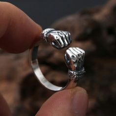 Men's Sterling Silver Fists Wrap Ring - Jewelry1000.com