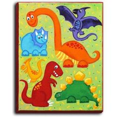 """DiaNocheDesigns 'Dinosaur Jumble' by NJoy Art Painting Print on Wrapped Canvas Size: 40"""" H x 30"""" W x 1.5"""" D"""