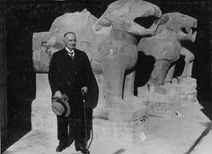 Baron Max von Oppenheim in front of the large Gate Gardian Statues in his Museum in the 1930s.   Photo courtesy of Max Freiherr von Oppenheim-Stiftung/ Max Freiherr von Oppenheim-Foundation, Köln/C