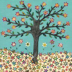 Retro Flower Tree Painting Art Print on Wood Whimsical by Sascalia, $35.00
