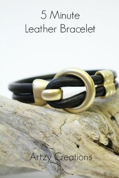 5 Minute Leather Bracelet is the easiest bracelet to make.  All you need is glue!